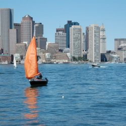 A view from the water on a Boston mission trip or pilgrimage with Wonder Voyage.