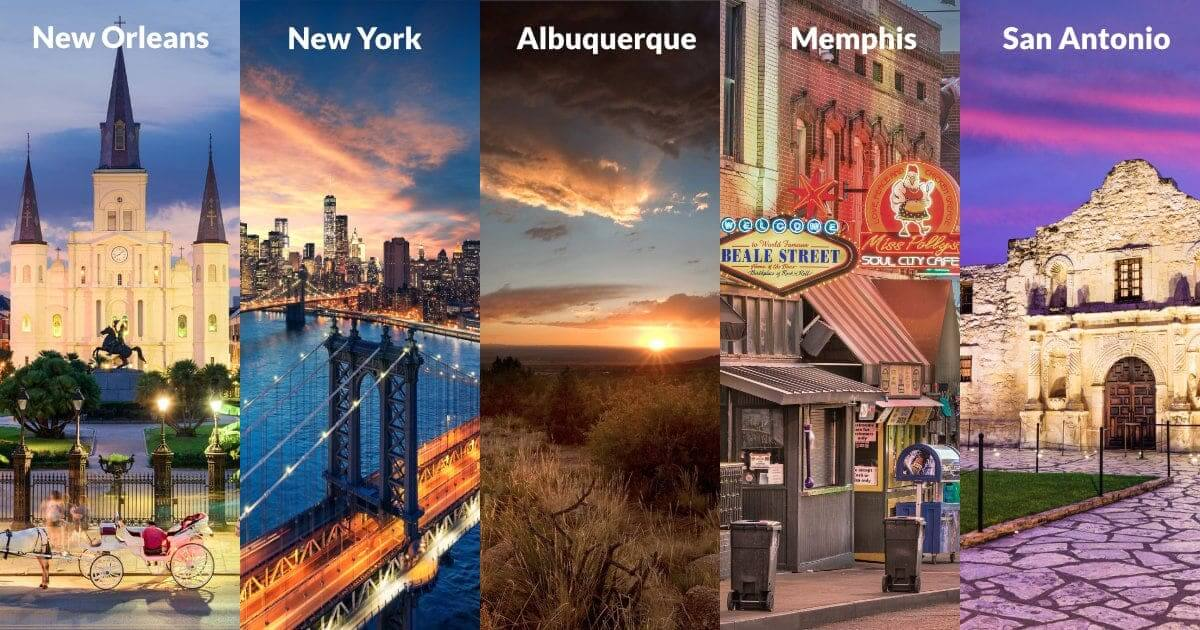 Top 5 Domestic Location for Service Trips
